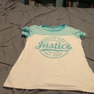 JUSTICE ACTIVE GIRL'S TEAL GREEN SS SHIRT. SIZE 16